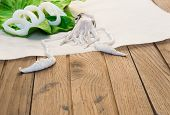 stock photo of squid  - Fresh squid on wooden table - JPG