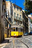 picture of tram  - Vintage tram in the city center of Lisbon - JPG