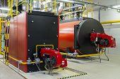 picture of boiler  - Gas boilers in gas boiler room - JPG