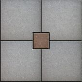 foto of paving  - Brown Little Square Paved in Center of Four Gray Squares - JPG