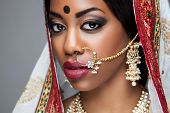 image of indian wedding  - Exotic Indian bride dressed up for wedding ceremony - JPG