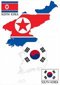 stock photo of seoul south korea  - North and South Korea Vector maps and flags - JPG