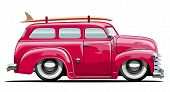 stock photo of car ride  - Vector cartoon retro van - JPG