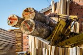 picture of timber  - Stacked wood pine timber for furniture production and construction - JPG