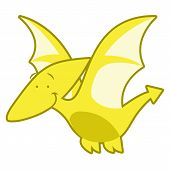picture of pterodactyl  - Vector Cute Cartoon Dinosaur Isolated On White Background - JPG