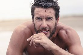 picture of thoughtfulness  - Close up Handsome Thoughtful Athletic Man with No Shirt - JPG