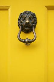 stock photo of front door  - yellow door handle lion shaped in dublin - JPG