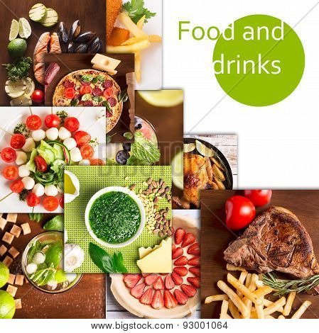 Tasty Food And Drinks Collage
