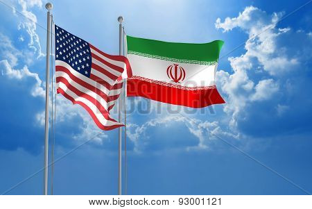 American and Iranian flags flying together for diplomatic talks