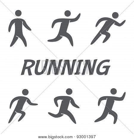 Silhouettes figures of runners. Vector icons for running.