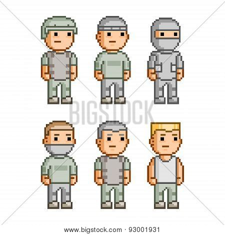Pixel art collection soldiers