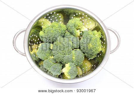 Portion Of Fresh Green Broccoli. White Background
