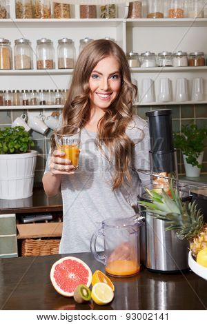 Beautiful Woman Making Detox Juice