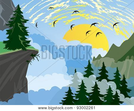 Forest background with fir trees and mountains, and morning sun with rays