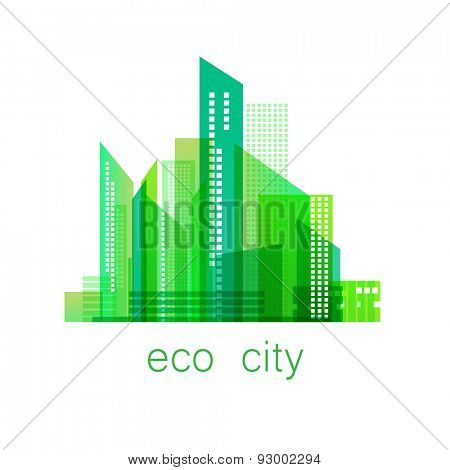 eco-city - template logo. Eco concept. Vector sign .