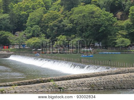 Beautiful nature river Kyoto Japan