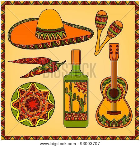 Vector set traditional mexican symbols