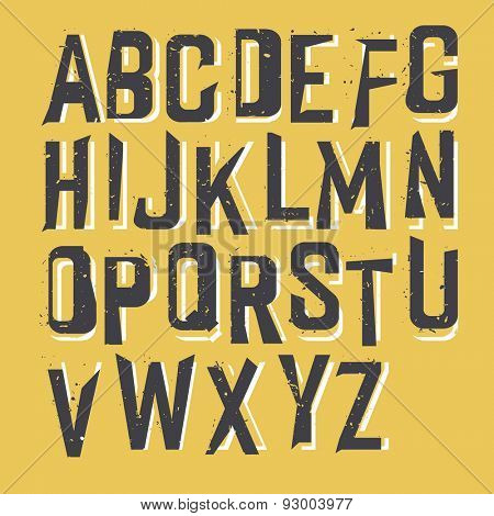 Grunge Styled Textured Alphabet on Yellow Background