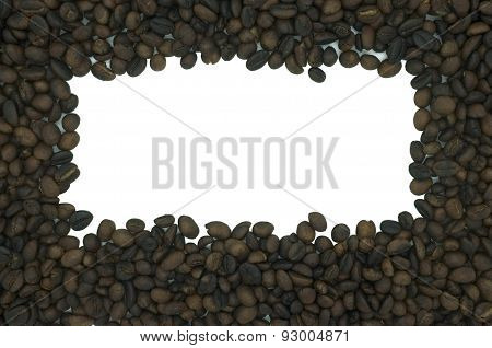 Coffee frame in rectangular shape isolated on white