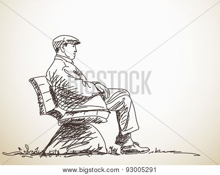 Sketch of man sitting on bench Hand drawn illustration