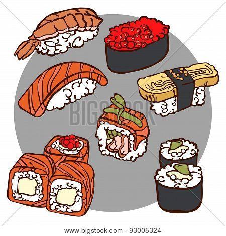 Japanese cuisine. Sushi. Rolls. Vector illustration (texture).