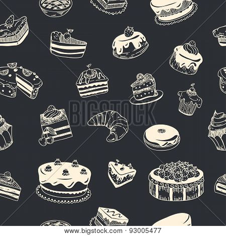 Vector seamless pattern with sweet desserts, cupcakes, tarts, donuts