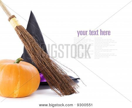 Witch Broomstick, Pumpkin And Hat