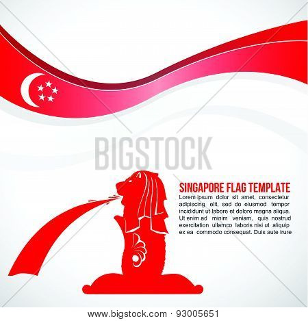 Abstract Singapore flag wave and Merlion fountain