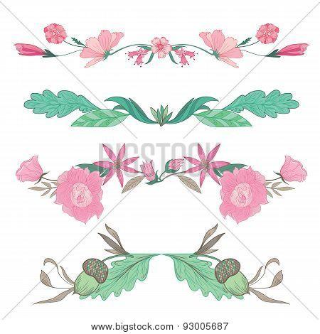 Vector Floral Vignettes in Pale Colors