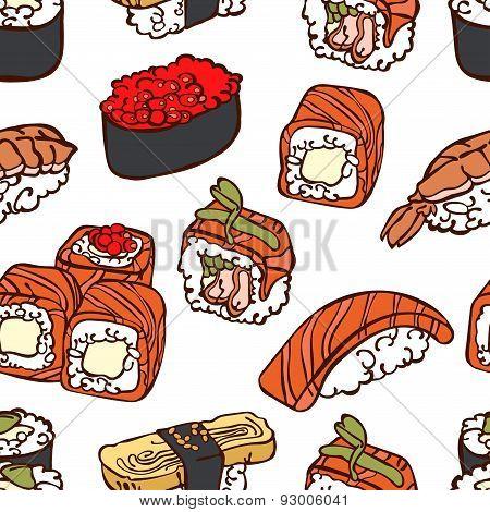 Japanese cuisine. Sushi. Rolls. Vector seamless illustration (texture).