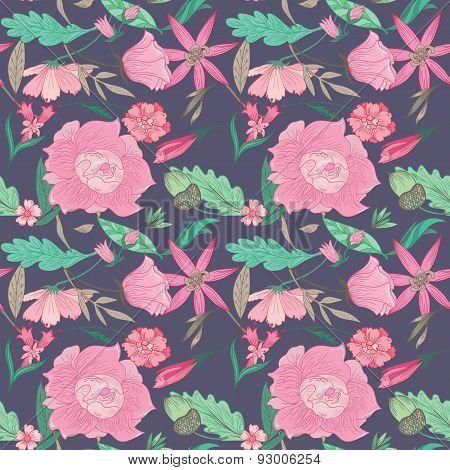 Summer Floral Pattern on Indigo Background