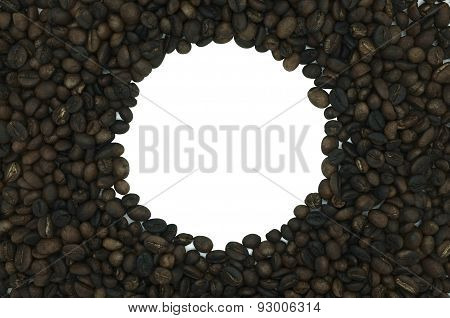 Coffee frame in round shape isolated on white