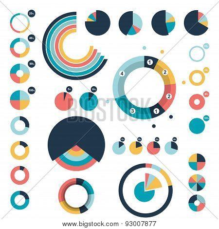 Circle, Round Charts, Graphs.