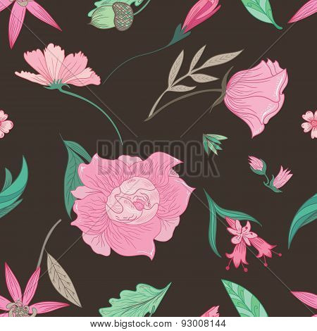 Summer Floral Pattern on Brown Background