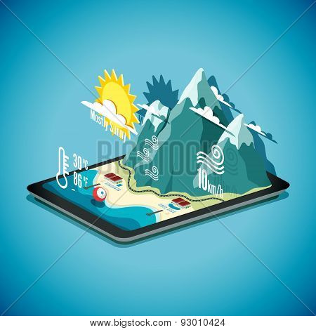 Vector isometric concept of weather forecast program on tablet PC.