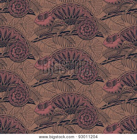 Seamless pattern with ornamental chameleons in jungle