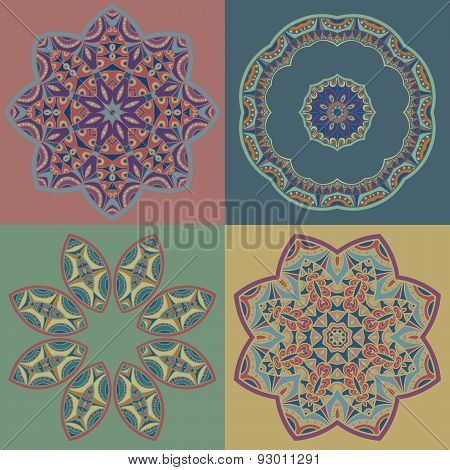 Set of circle patterns in oriental style