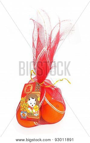 Oranges in chinese new year red bag, Chinese New Year decoration