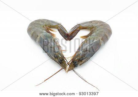 Two raw, fresh shrimp, prawn in heart shape