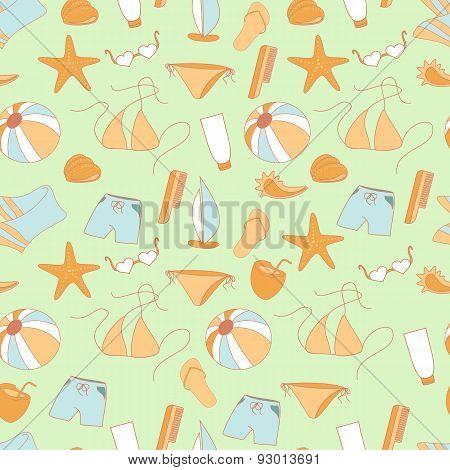 Seamless Pattern Summer Collection Of Swimwear, Shorts, Ball, Sh