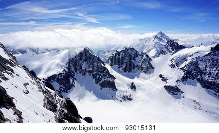 Scenery Of Valley Titlis Snow Mountains