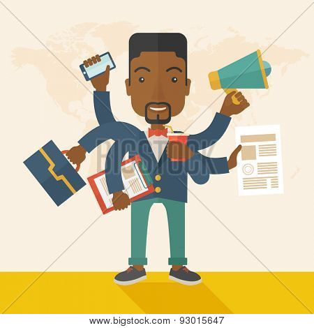 A young but happy african employee has six arms doing multiple office tasks at once as a symbol of the ability to multitask, performing multiple task simultaneously. Multitasking concept. A