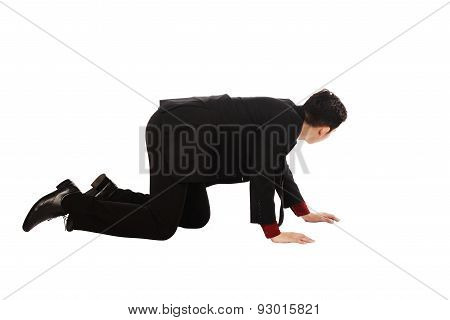 Asian Business Man Crouching