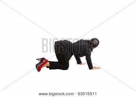 Asian Business Woman Crawling