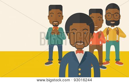 A handsome black businessmen happy standing showing for their successful in life. . A Contemporary style with pastel palette, soft beige tinted background. Vector flat design illustration. Horizontal
