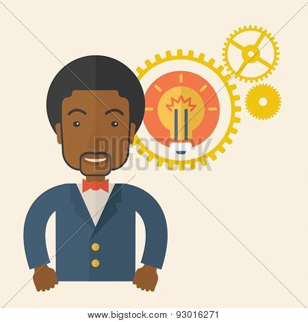 An african company officer with gear have a strong marketing strategy to share in company. Leadership concept.  A Contemporary style with pastel palette, soft beige tinted background. Vector flat