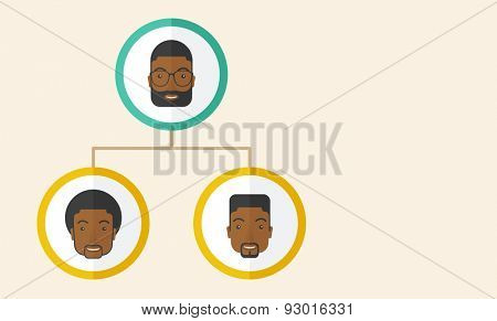 A group of african gather to have a business meeting and brainstorming. Business group concept. .  A Contemporary style with pastel palette, soft beige tinted background. Vector flat design