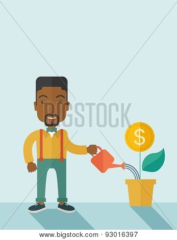 A happy african business person watering a growing plant with money flower. Growing business concept. A contemporary style with pastel palette soft blue tinted background. Vector flat design