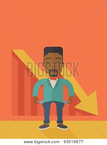 An african young man standing and feels bad because of his failure in his business career. Failed, bankrupt concept. A contemporary style with pastel palette soft orange tinted background. Vector flat