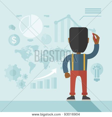 An african- american goodlooking  finance officer facing backward with his presentation, a graph, pie chart, dollar coin and map on the board. Business strategy concept.  A contemporary style